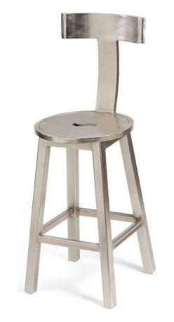 "Go Home - Go Home 26"" Seat Height Steel Finish Barstool - This piece comes from the European furniture collection is sure to make the bar room even more relaxing to hang out in. This seat just speaks of the fusion of modern design and art. It is especially striking because of its ability to provide adequate foot rest at the bottom."