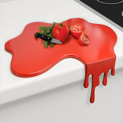 Splash Chopping Board - Make way for the Splash! The Splash Chopping Board is cleverly designed to make it stable against the edge of the kitchen counter whilst the vertical drip can be easily removed to make a completely flat worktop saver.