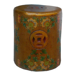 Golden Lotus - Brown Tibetan  Oval Flower Hand Painting Money Sign Wood Stool - This is a lotus hand painting Tibetan stools which is made of solid elm wood.  The stool top had flower painting on it and side has money coin designed.