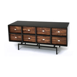 Mid Century Modern - This mid century modern sideboard features a linear modern furniture design. It is available in custom sizes. Shown with reclaimed wood drawer fronts. Also, available in rosewood or other wood finish colors.