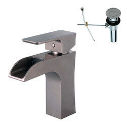 YOSEMITE HOME DECOR - Single Handle Lavatory Faucet - This series features an exquisite single handle vessel faucet in prominent bronze nickel with eye-catching sharp, dominant edges. This piece is AB 1953 compliant and meets NSF low lead standards. Low maintenance makes this faucet a resourceful addition to any bathroom. It comes with a supply line, deck plate, and is a single-hole installation. This vessel faucets fresh and refined design would complement any bathroom vanity and decor. Metal Pop-up drain Included.
