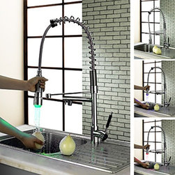 Kitchen Sink Faucets - Kitchen Faucet with Color Changing LED Light ( Chrome Finish )--FaucetSuperDeal.com