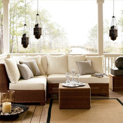 Palmetto All-Weather Wicker Sectional Set, Honey - Here is a nice sectional set. It looks so comfortable. I love the honey tones.