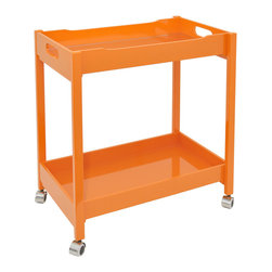 Breakfast Juice Tray Cart - The Breakfast Juice Tray Cart carries a stylish and sunny disposition. With a bold orange finish, a mirrored top tray, and sleek silver caster wheels, this cart is practical and chic. Display your favorite toiletries, keep bath towels at the ready, and showcase a couple of stylish wood candleholders, perfect for those moments you want to indulge in a little extra pampering time.