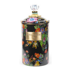 Flower Market Large Enamel Canister - Black   MacKenzie-Childs - Flour, sugar, and coffee might seem the most obvious of contents with which to fill a set of three Flower Market Canisters, but the possibilities are endless! Keep them in the kitchen with coffee beans and tea bags, cookies and candies, dog biscuits or birdseed, or invent new uses around the house. Perfect for cotton balls and swabs in the bathroom, pens and pencils in the office, or knick-knacks and doodads in the kids room. Color glazed in black, blue, green or white, each Flower Market Enamel Canister is decorated with hand-applied fanciful botanical transfers that recall a lush English garden in the peak of summer. These canisters stand handsomely alone or harmonize delightfully in a multicolor set.