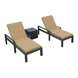 Forever Patio - Hampton 3 Piece Adjustable Chaise Lounge Set, Chocolate Wicker and Tan Cushions - Create a seaside feel in your backyard, no matter where you live. These comfortable chaise lounges with sleek Sunbrella® cushions come with a modern glass-topped end table to hold your snacks and reading material. The durable aluminum and wicker frame will last for many summers to come.