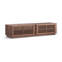 Zuo Modern - Linea Long Console Walnut - The Linea series has a clean and retro look with many functional drawers and shelves.  The exterior shell is walnut stained solid birch with MDF frame and drawers.
