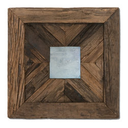 Uttermost - Rennick Reflections Wood Mirror - Reclaimed, Rustic Pinewood Accented With An Antiqued Style Mirror. May Be Hung As A Square Or Diamond Shaped.