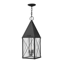Hinkley Lighting - Hinkley Lighting 1842BK York Transitional Outdoor Hanging Light - York uses authentic exposed rivet construction hand-made in solid aluminum and celebrates the bold traditional lantern design Hinkley is renowned for.  This classic hip roof and wire cage turn of the century style comes with a functional interior metallic