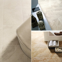 Eleganza Tiles Eco Tuscany Porcelain Tile - Eco Tuscany, a captivating travertine recreation with a high definition ink jet technology allows for a realistic interpretation of this classic stone. With three beautiful colors and two unique sizes, Eco Tuscany can be flexible in all residential and commercial interiors.