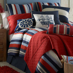 "Horchow - Queen Colton Denim Dust Skirt - We couldn't resist the way these linens paired room- and mood-brightening red, white, and blue with the old-fashioned comfort of quilting. Machine wash. Imported. Cotton. Denim dust skirts have an 18"" drop. Captain's wheel pillow is wool on cotton...."