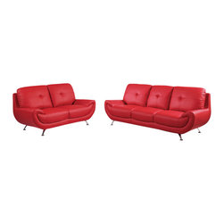 Global Furniture USA - U4120 Red Bonded Leather Three Piece Sofa Set - The U4120 sofa set will add a stylish modern look to any decor it's placed in. This sofa set comes upholstered in a beautiful red bonded leather in the front where your body touches. Skillfully chosen match material is used on the back and sides where contact is minimal. High density foam is placed within the cushions for added comfort. Each piece has a smooth curved design that makes this sofa set stand out amongst the others. The price shown includes a sofa, loveseat, and chair only.