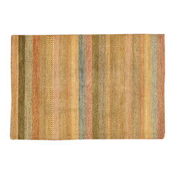 1800GetARug.com - Oriental Rug, 4'X6' Hand Knotted Striped Gabbeh 100% Wool Rug Sh12603 - Oriental Rug, 4'X6' Hand Knotted Striped Gabbeh 100% Wool Rug Sh12603