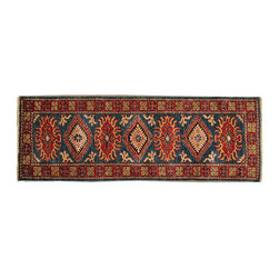 1800-Get-A-Rug - Navy Oriental Rug Super Kazakh Runner Tribal Design Hand Knotted Sh18290 - Our tribal & geometric hand knotted rug collection, consists of classic rugs woven with geometric patterns based on traditional tribal motifs. You will find Kazak rugs and flat-woven Kilims with centuries-old classic Turkish, Persian, Caucasian and Armenian patterns. The collection also includes the antique, finely-woven Serapi Heriz, the Mamluk Afghan, and the traditional village Persian rug.