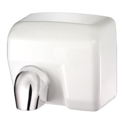 """Palmer Fixture - Conventional Series Hand Dryer in White - Touchless, automatic hand dryer constructed of steel with a porcelain enameled coating in white with 2 vandal-proof lock screws. Nozzle is chrome plated zinc. Unit automatically shuts off when the users hands are removed with an approximate drying time of 20-25 seconds and an automatic power cut off after 60 seconds. The nozzle comes in the fixed position but can be adjusted in the field by removing the screw. Dryer delivers 202 CFM, air speed 63 MPH, Sound Level 70dB, motor type 1/4HP--200 W Brush type, motor thermostat turns unit off at 221 degrees Fahrenheit (105-_C), operation power 2400 W, 20 AMPS, 110/120 Volts, air output temperature 138 degrees Fahrenheit (53-_C)--ambient temperature 68 degrees Fahrenheit (20-_C), heating element 2200W. Instructions and mounting template included with every unit. Unit should be installed by a certified electrician.; Dimensions: 11 3/16"""" L x 8 """" W x 9 3/4"""" H; Includes 1 key, type 6"""