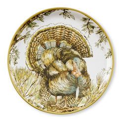 Turkey Salad Plates - Resting on top of more neutral dinner plates, these salad plates add soft color and pattern. Just make sure you don't eat your turkey on them, or you might feel conflicted as you stare down at the beautiful creature depicted there!