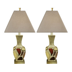 "Signature Design by Ashley - 30"" Diallo Set of 2 Table Lamps L289904 - A set of two: Multi-colored Ceramic base with soft geometric design table lamps with silver tone silky shades."