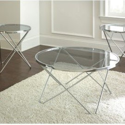 Steve Silver Matrix Round Chrome and Glass Coffee Table Set - Who knew that that hard finishes of the Steve Silver Matrix Round Chrome and Glass Coffee Table Set could add such an airy touch to your living room? The ultra stylish and unique chrome base is finished in a bright silver that's sure to reflect your great decor choices. A tempered glass top lets the design clearly shine, through, while the benefits of an easy-to-clean material makes this a table set you're not afraid to use.About Steve SilverSince its founding in Forney, Texas, in 1987, the Steve Silver Company has had a simple focus: to provide the best quality product at an irresistible price, back it up with uncompromising service, and continue to improve every day. As one of the premier suppliers of dining sets and occasional furniture in the country, Steve Silver is proud to make you, the customer, its top priority, utilizing state-of-the-art equipment, proven operating procedures, and over 500,000 square feet of facilities. You'll feel equally proud displaying furniture from the Steve Silver Company in your home.