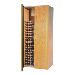 Vinotemp - Vinotemp 440TD Two Door Cooling Cabinet - 440TD - Shop for Wine Refrigerators from Hayneedle.com! The Vinotemp 440TF Two Door Cooling Cabinet boasts a simple unpretentious style that emphasizes timeless quality. Crafted from premium unfinished white oak the exterior features a pair of doors and brass finish hardware. It is designed to store your prized wines safely and securely; brass lock and key are also included. The doors open to reveal ample storage space; the cabinet can accommodate approximately 280 bottles of wine. Universal 3.75-inch racking made of durable redwood and aluminum will fit most bottle sizes. Convenient digital temperature control makes it easy to customize specifications to fit your needs. This cabinet measures 38 inches wide by 29 inches deep and stands 82 inches tall.Handcrafted using domestic woods each Vinotemp wine-cooling cabinet maintains an ideal environment for both short-term storage and long-term aging of all types of wines. This all-in-one solution maintains a temperature of 55 degrees Fahrenheit and a humidity level ranging from 50 to 70 percent. The resulting environment is remarkably similar to that of the cool caves used to store wine in France. Each unit utilizes a Wine Mate 1500BTU self-contained cooling system with an insulation factor of R12. Please note that the back exhaust configuration requires a minimum of 4 to 6 inches on the back 12 inches on the sides and 6 to 12 inches above for proper ventilation.Bottle capacities are approximate and will vary depending upon bottle shape. Each cabinet is built to order with precision construction and attention to detail. Shipping range is 4-6 weeks.Note: Single Zone wine coolers are intended to store only one type of wine at a time as they have only one temperature zone that can be set to cool either red white or sparkling wine.About VinotempBased in Southern California since 1985 Vinotemp has proudly crafted custom built wine coolers for some of the finest restaurants 