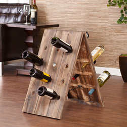 Upton Home - Upton Home Bustillo 24-Bottle Riddling Wine Rack Display - The weathered oak finish and interesting sandwich board design offer an extraordinary,rustic wine display. This riddling rack stores up to 24 bottles. Add this riddling rack to your dining room,kitchen,or anywhere you entertain.