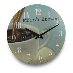Fresh Brewed Cup Of Coffee Wall Clock 15 in. - The coffee obsession continues! This fabulous 15 1/2 inch (39 cm) diameter pressed wood wall clock would look amazing in contemporary or modern themed homes with it`s artistic cup of joe on the face! Featuring a bright, white numbered dial and contrasting hands that make it easy to read the time, while the delicate colors make it easy to blend in with existing decor, and the quartz movement runs on 1 AA battery (not included). This clock would make a wonderful housewarming gift for any of your coffee drinking friends or family members!
