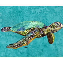 Caroline's Treasures - Turtle Swimming Fabric Standard Pillowcase Moisture Wicking Material - Standard White on back with artwork on the front of the pillowcase, 20.5 in w x 30 in. Nice jersy knit Moisture wicking material that wicks the moisture away from the head like a sports fabric (similar to Nike or Under Armour), breathable performance fabric makes for a nice sleeping experience and shows quality.  Wash cold and dry medium.  Fabric even gets softer as you wash it.  No ironing required.
