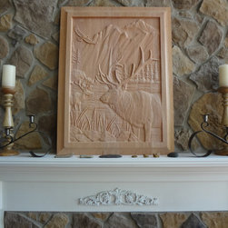 Wall Art - Elk Scene Wood Carving by Gary Peck