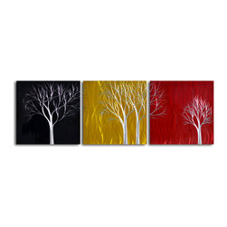 "'Seasons Pass' 3 Piece Handmade Metal Wall Art Set - Size: 24"" x 72"" (24"" x 24"" x 3pc).  Enjoy a 100% hand crafted metal wall art made of high grade brushed aluminum over a 1/2 inch thick inner wooden frame. This beautiful wall decor is hand painted and ready to hang out of the box. Each aluminum sheet is hand sanded and hand grinded until the desired holographic effect is accomplished. This process brings the artwork to life and you see it moving as you walk by. Then the grinded panels are hand painted with multiple layers of paint and finished with clear UV coat. With each purchase of our metal art you receive a one of a kind piece due to the handcrafted nature of the product. Hand crafted by a single talented artist. Due to the handcrafted nature, each piece may have subtle differences."