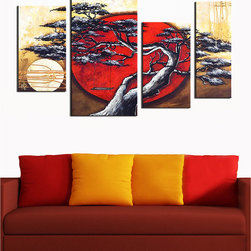 DESIGN ART - Japanese Tree Hand-painted 4-piece Art - Title: Japanese Tree hand-painted 4-piece set Product type: Hand-painted oil on canvasStyle: Contemporary
