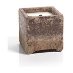 Rustique Cement Square Candle with Wooden Wick -Citronella - For outdoor use to keep the insects at bay, perch a few of the Rustique Cement Square Wooden Wick Candles on your tabletops and enjoy those cool spring and warm summer nights with the natural insect repellent of citronella along with a blend of lemongrass and Geranium. Sturdy and easily adaptable to any style, these candles appear aged and weathered and give off a crackle reminiscent of a fireplace as they burn.