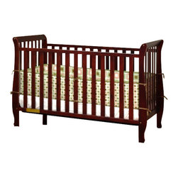 AFG Baby - AFG Baby Naomi Convertible Crib with Toddler Rail in Cherry - Accented by graceful curves on the legs, the Naomi 4-in-1 Convertible Crib brings unique style combining different elements for safety and ease of use. Made of pine solid hardwood with a non toxic finish, the Naomi crib has stationary sides for added safety in addition to wide, thick slats for extra sturdiness. Features 3-level adjustable mattress height support, and conversion to a toddler bed or day bed with the included guardrail, or full-size bed (conversion rails sold separately).
