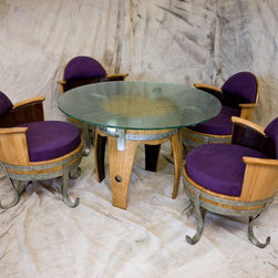 "Reclaimed Wine Barrel Table & 4 Chairs Set - This set of 4 upholstered chairs and a 48"" glass-topped table is from our reCoop series — furniture made from reclaimed white oak wine barrel staves. The chairs are super comfy with a large, thick seat cushion and smaller back cushion in purple ultrasuede. A custom textured, cast-glass top completes the table. What a unique conversation piece, dining, wining and gaming table — all in one!"