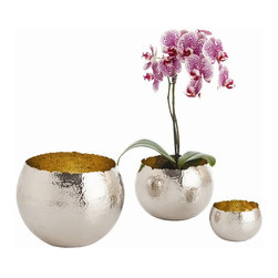 """Arteriors - Alessandria Bowls - Set of 3, Polished Nickel - Set of three hand hammered solid brass bowls with irregular top edge.  Comes in Bronze or Polished Nickel.  Bronze bowl is polished on the inside and bronzed on the outside.  Nickel bowel is polished on the outside.  Not food safe, but a great way to hold and organize things on your desk top or vanity.  Large bowl: 10 1/2"""" w x 10 1/2"""" d x 8"""" h  Medium bowl: 6"""" w x 6"""" d x 8"""" h  Small bowl: 5"""" w x 5"""" d x 3 1/2"""" h"""