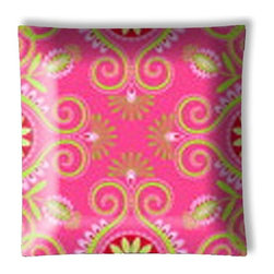 "Gypsy Bandana Pink and Green Paisley Ceiling Light - 12"" square semi flushmount ceiling lamp with designer finish. Includes complete installation instructions and complete light fixture. Wipes clean with a damp cloth. Uses 2-60 watt bulbs (not included) and is made with eco-friendly/non-toxic products. This is not a licensed product, but is made with fully licensed products."