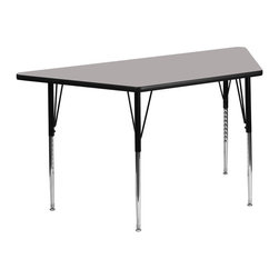 "Flash Furniture - 24""W x 48""L Trapezoid Activity Table with Standard Height Adjustable Legs - Flash Furniture's XU-A2448-TRAP-GY-H-A-GG warp resistant high pressure laminate trapezoid activity table features a 1.25 in.  top and a high pressure laminate work surface. This Trapezoid High Pressure Laminate activity table provides an extremely durable (no mar, no burn, no stain) work surface that is versatile enough for everything from computers to projects or group lessons. Sturdy steel legs adjust from 21.25 in.  - 30.25 in.  high and have a brilliant chrome finish. The 1.25 in.  thick particle board top also incorporates a protective underside backing sheet to prevent moisture absorption and warping. T-mold edge banding provides a durable and attractive edging enhancement that is certain to withstand the rigors of any classroom environment. Glides prevent wobbling and will keep your work surface level. This model is featured in a beautiful Grey finish that will enhance the beauty of any school setting."