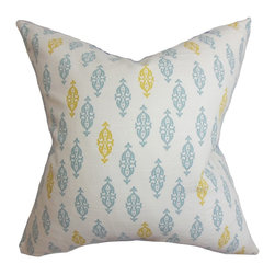 "The Pillow Collection - Ziven Geometric Pillow Blue - This sleek and modern throw pillow offers a posh finish to any of your rooms. Create an effortless style with this accent pillow, which features a unique geometric pattern. This square pillow takes your decor to a new height with its bright shades of blue and yellow on a white fabric. This 18"" pillow is made with 100% high-quality cotton fabric. Hidden zipper closure for easy cover removal.  Knife edge finish on all four sides.  Reversible pillow with the same fabric on the back side.  Spot cleaning suggested."
