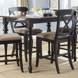 Liberty Furniture - Liberty Furniture Abbey Court Opt 5 Piece Gathering Table Set in Black and Cherr - Elegantly styled and casually proportioned  Abbey Court works in a dining room as well as a kitchen dining combination. Black and cherry is a versatile finish for the home and is a nice accent to other wood tones throughout the house. Tables feature canted corners and heavy turned legs. Fancy face cheery veneers accent the table top. Two chair options feature napoleon styling with an x back and a saber leg or a splat back and a turned leg.  Both chair seats are upholstered in sand chenille. The buffet features two top drawers  a center shelf with wine bottle storage and glass stemware holders flanked by two wooden doors for concealed storage. The sliding glass door hutch has x grid onlays as well as a bead board back panel with wood framed glass shelves. Touch lighting features a center can light.Collection Features: French & English Dovetail ConstructionWood-on-Wood Drawer GlidesFelt Lined Top DrawersSatin Nickel Cup & Drop Ring HardwareHeavy Turned LegsCanted Corner AccentsFancy Face Cherry Veneer TopsIncludes One 18 Inch Leaf (T3872)Upholstered in Sand ChenilleGlass Stemware HoldersWine Bottle StorageSliding Doors on HutchLighted HutchIncludes One 18 Inch Leaf (G5454)