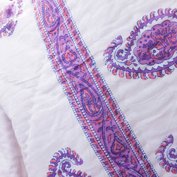 Attiser - Queen Size Purple Quilt Sets - Amethyst Amore Handmade Quilt , made in unique Indian Bohemian style. This rich pink, purple and white comforter is an Attiser Indian exclusive available in queen size.Hand Block Printed from Attiser