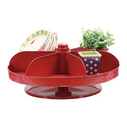 Park Hill Collection - Rotating Vintage Reproduction Hardware Bin - Once found on hardware store counters holding small nails, screws and washers, this red metal version spins to reveal sweet treats or desk top necessities.