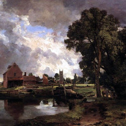 """John Constable Dedham Lock and Mill - 18"""" x 24"""" Premium Archival Print - 18"""" x 24"""" John Constable Dedham Lock and Mill premium archival print reproduced to meet museum quality standards. Our museum quality archival prints are produced using high-precision print technology for a more accurate reproduction printed on high quality, heavyweight matte presentation paper with fade-resistant, archival inks. Our progressive business model allows us to offer works of art to you at the best wholesale pricing, significantly less than art gallery prices, affordable to all. This line of artwork is produced with extra white border space (if you choose to have it framed, for your framer to work with to frame properly or utilize a larger mat and/or frame).  We present a comprehensive collection of exceptional art reproductions byJohn Constable."""