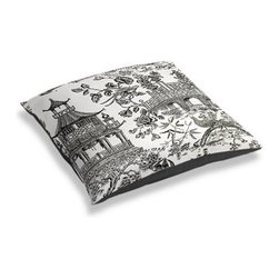 Black & White Asian Toile Custom Floor Pillow - A couch overflowing with friends is a great problem to have.  But don't just sit there: grab a Simple Floor Pillow.  Pile em up for maximum snugging or set around the coffee table for a casual dinner party. We love it in this black and white oriental toile on soft ivory linen. In this timeless color pairing, this motif can range from traditional to modern--your choice!