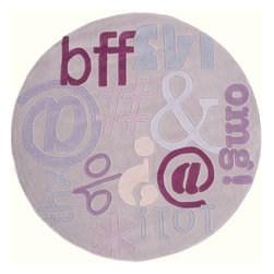 Momeni - Kids Lil Mo Hipster Round 5' Round Lilac Area Rug - The Lil Mo Hipster area rug Collection offers an affordable assortment of Kids stylings. Lil Mo Hipster features a blend of natural Lilac color. Hand Tufted of 100% Mod-Acrylic the Lil Mo Hipster Collection is an intriguing compliment to any decor.