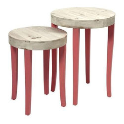 Gill Nesting Tables - Set of 2 - This set of two fir wood nesting tables puts the fun in funky with it's bold coral color and natural wood tops.