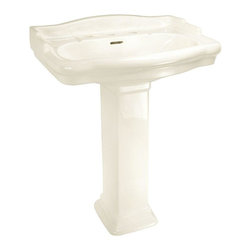 World Imports - English Turn Pedestal Lavatory 8in. Centers Vitreous China, Bisque - Vitreous China