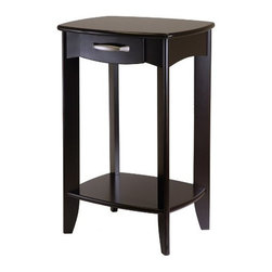 Winsome Wood - Danica Side Table - Our Danica Side Table Collection has clean yet traditional lines. The curved drawers is a perfect place to keep clutter out of sight. An open lower shelf gives you more space. Made of Solid and composite wood in espresso finish.