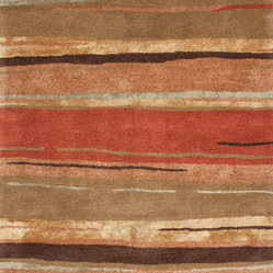 Jaipur Rugs - Transitional Abstract Pattern Red /Orange Wool/Silk Tufted Rug - BQ06, 2x3 - The Baroque collection has a simple modern aesthetic.Hand tufted in 100% wool each rug is beautifully colored to reflect todays home trends.