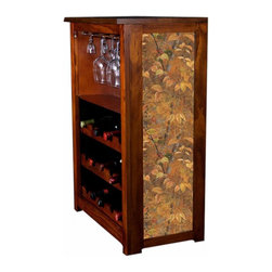 Kelseys Collection - Wine Cabinet 15 bottle Autumn Leaves by Rosemary Millette - Wine Cabinet stores fifteen wine bottles and glassware with licensed artwork by Rosemary Millette giclee-printed on canvas side panels  The frame, top, and racks are solid New Zealand radiata pine with a hand stained and hand rubbed medium reddish brown finish, which is then protected with a lacquer coat and top coat. The art is giclee printed on canvas with three coats of UV inhibitor to protect against sunlight, extending the life of the art. The canvas is then glued onto panels and inserted into the frames.