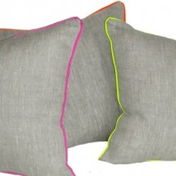 Neon Piper Throw Pillow, Set of 2 - I love the small splash of neon against the natural linen of these pillows. It's just enough to be noticed, but not enough to steal the show.