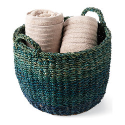 Large Blue & Green Basket - Use these baskets to carry stuff, hold towels or corral odds and ends quickly when someone drops by unexpectedly.