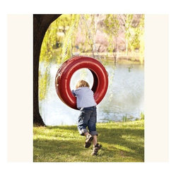 Triple-Play Recycled Tire Swing, Red - Keep the kids occupied with this fire engine–red tire swing. This would be pretty easy to DIY as well!
